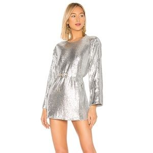 Lovers + Friends Leslie Mini Dress sequin Silver